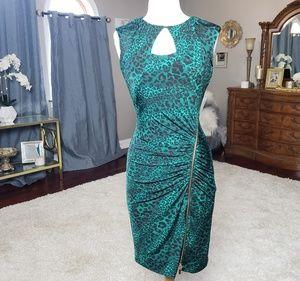 EUC Cache emerald/black leopard bodycon dress